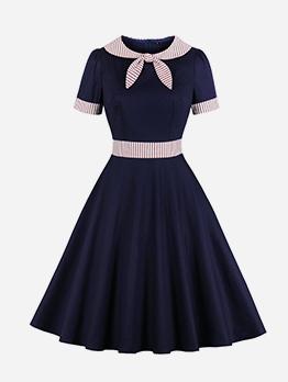 Bow Collar Striped Short Sleeve Christmas Dress