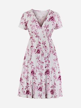 Floral Slim Waist Short Sleeve Casual Dresses