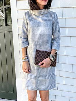 Retro Houndstooth Long Sleeve Dresses For Women