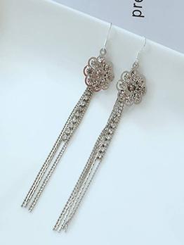Elegant Flower Rhinestone Tassel Earrings