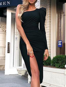 Solid One Shoulder Ruched Slit Midi Dress