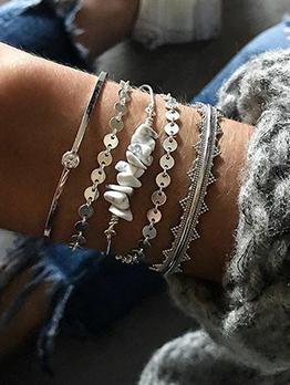 Round Sequin Silver Bracelet 5 Piece Set