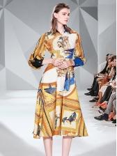 Elegant Birds Printed Women Shirt Dress
