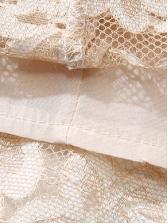 V Neck Solid Long Sleeve Lace Dress
