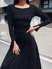 Easy Matching Back Bandage Solid Black Midi Dress