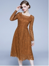Square Neck Solid Lace Long Sleeve Dress