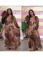 Deep V Neck High Split Leopard Print Maxi Dresses
