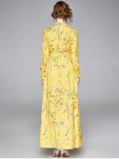Elegant Long Sleeve Slit Floral Maxi Dress