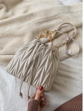 Threads Pleated Design Solid Chain Bucket Bags