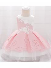 Sleeveless Flower Embroidery Mesh Girls Party Dresses