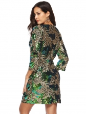 Crew Neck Embroidery Long Sleeve Sequin Dress