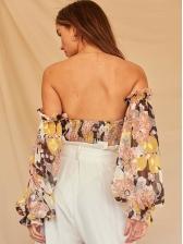 Off Shoulder Lantern Sleeve Floral Chiffon Blouse