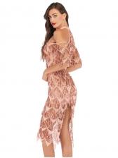 Open Shoulder Tassels Sequin Elegant Cocktail Dresses