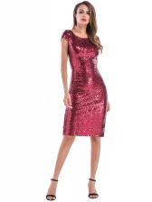 Retro Ladies Short Sleeve Sequin Dress