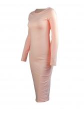 Pure Color Long Sleeve Bodycon Midi Dress