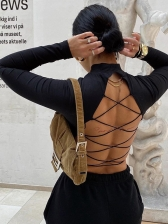 Lace Up Backless Long Sleeve Cropped T Shirt