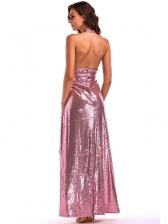 Cut Out Backless Slit Sequin Halter Maxi Dress