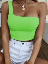 One Shoulder Fluorescent Color Cropped Tank Top