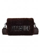 Metal Letter Decorated Wide Belt Fluffy Shoulder Bags