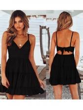 Back Bow Lace Ruffled Cami Dress