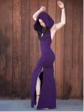 Retro Drawstrings Hooded Sleeveless Maxi Dress