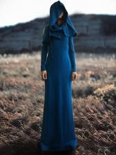 Vintage Hooded Solid Open Shoulder Cheap Maxi Dresses