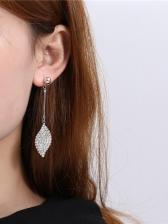 Chic Full Rhinestone Leaf Drop Earrings