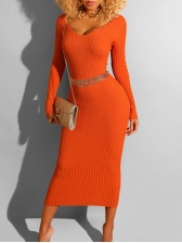 Ribbed Solid Solid Long Sleeve Midi Dress