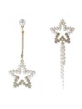 Studded Rhinestone Decor Star Asymmetric Drop Earrings
