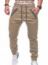 Leisure Zipper Decor Drawstring Jogger Pants