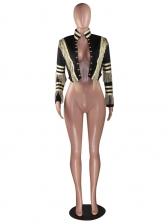 Fashion Golden Stripe Tassel Short Ladies Coat
