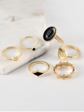 Heart Eye Geometric Rings Set For Women