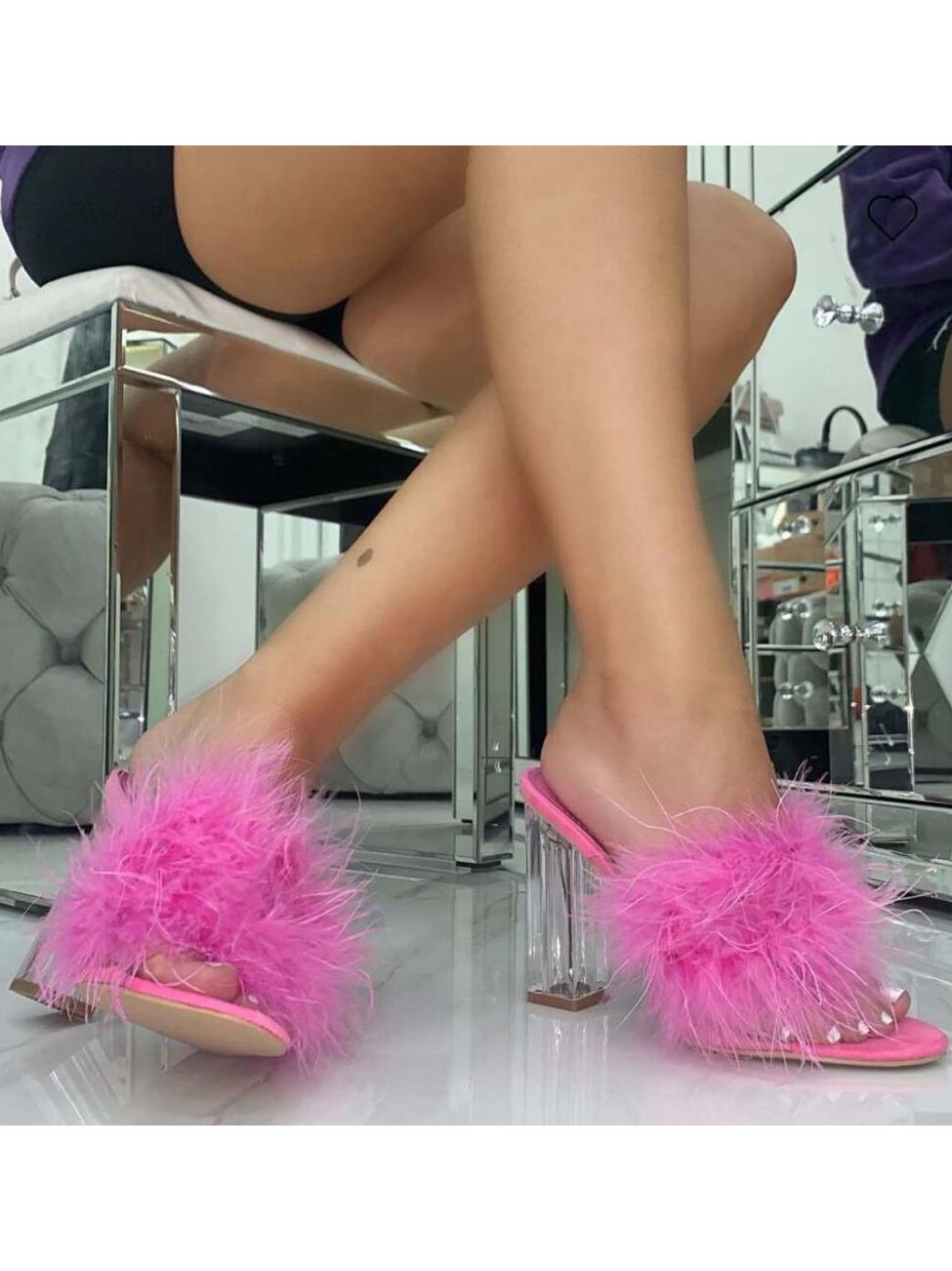 PVC Chunky Clear Heel Fuzzy Slippers