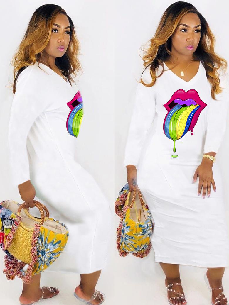 Colorful Lips Print V Neck Long Sleeve Maxi Dress