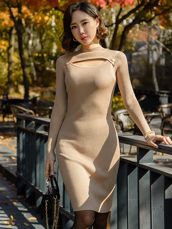 Hollow Out Knit Long Sleeve Sweater Dress