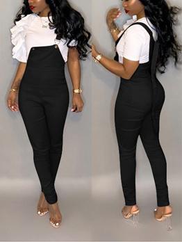 Solid Color Skinny Suspender Jumpsuit For Women