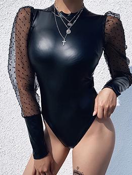 Dot Leather Patchwork Black Long Sleeve Bodysuit