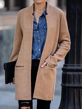 Zipper Pocket Pure Color Women Wool Coat