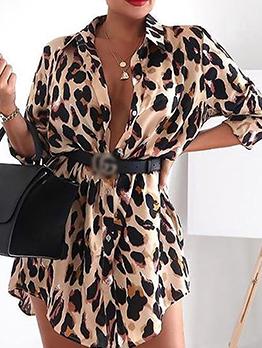 Leopard Printed Long Sleeve Shirt Dress