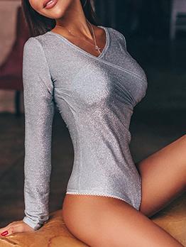 Glitter Pure Color Long Sleeve V Neck Bodysuit