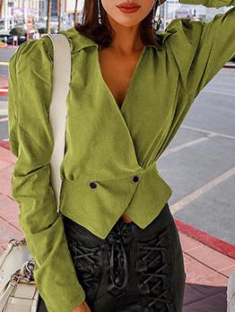 V Neck Solid Button Up Short Coat For Ladies