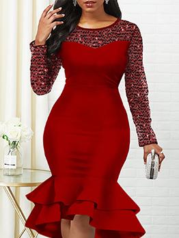 Sequin Patchwork Ruffled Hem Long Sleeve Dress