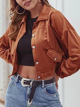 Velvet Single Breasted Short Jacket