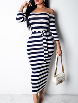 Off Shoulder Striped Wrap Maxi Dress
