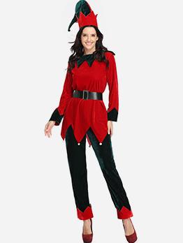 Christmas Stitching Color Sawtooth Hem Elf Costume