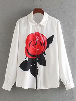 Fashion Peony Printed White Blouse