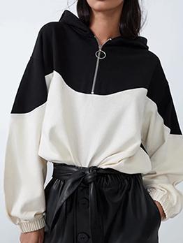 Contrast Color Hooded Zipper Hoodies For Women