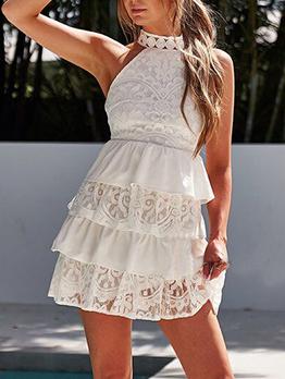 Lace Patchwork Halter Neck Sleeveless Dress