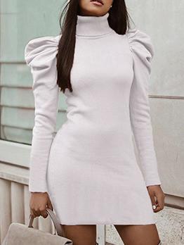 Turtleneck Puff Sleeve Knit White Dress