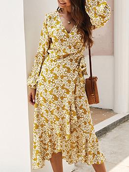 Bohemian Midi Long Sleeve Floral Dress